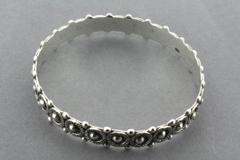 detailed bead bangle - sterling silver