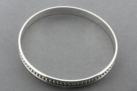 mini bead with edges bangle - sterling silver