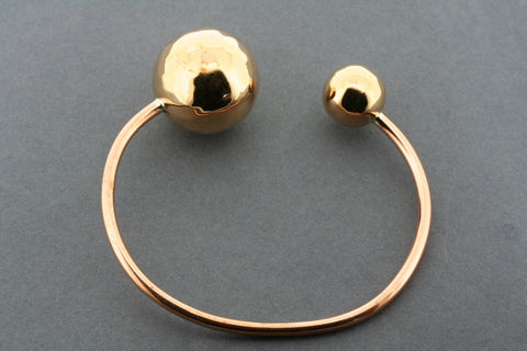 2 x battered ball end cuff - copper