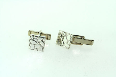 square pebbled cuff link