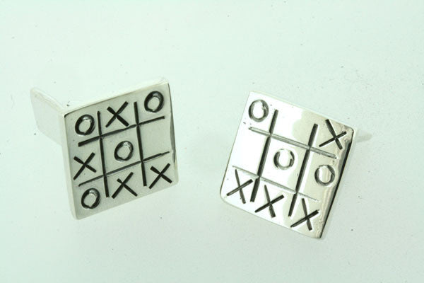 Sterling Silver Noughts And Crosses Cufflinks