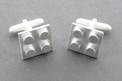 Brushed Sterling Silver Lego Cufflink