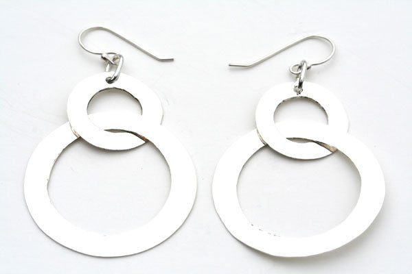 2 x battered circle earring