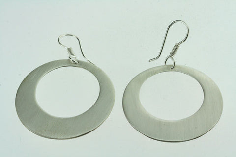 flat matte off centre disc earring
