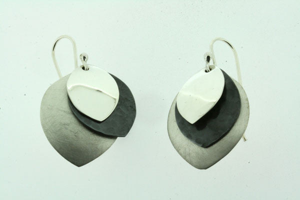 3 x textured teardrop disc earring