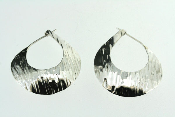textured hollow teardrop earring