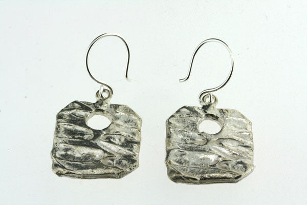 textured square with hole earring
