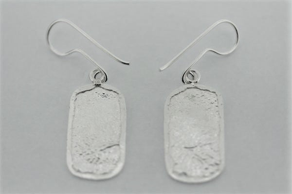 textured framed rec earring - sterling silver