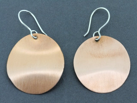 brushed copper curved disc earring - 27 mm