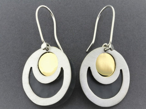 eclipse earrings - 22 Kt gold & oxidized over silver