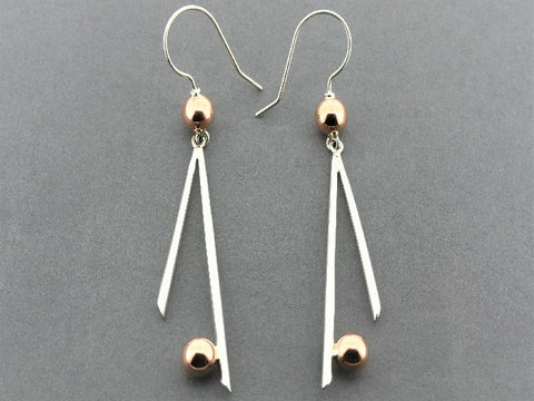 2 x 6 mm copper ball & silver drop earrings