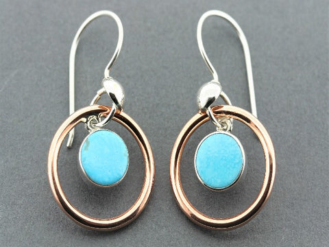 copper & silver halo earring with turquoise