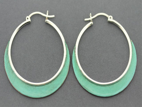 Large hoops - silver & copper with patina