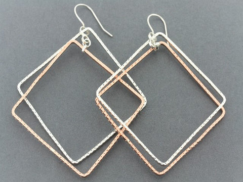 Silver & copper large diamond earring - hammered