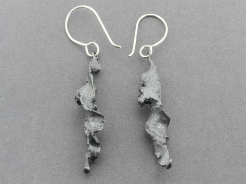 Torn spiral drop earring - oxidized sterling silver