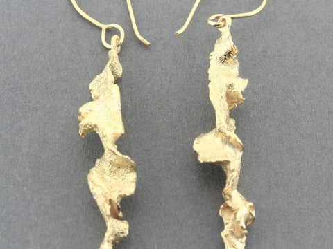 Torn spiral drop earrings - gold over silver