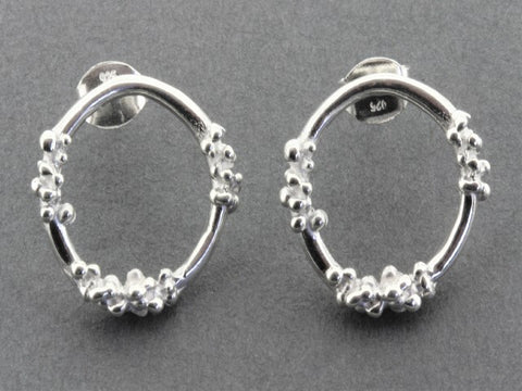 beaded circle earring - silver