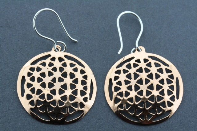 copper mosaic flower earring - small