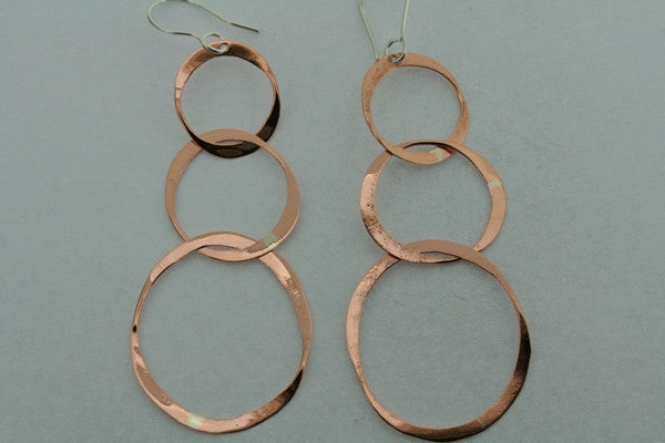 3 x copper disc drop earring