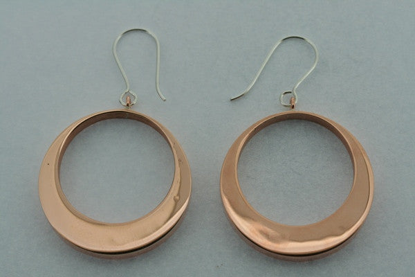 copper off centre circle earring