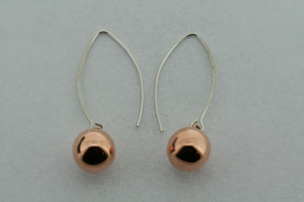 10mm Copper Ball Drop Earring