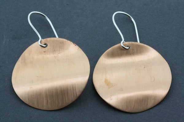 brushed copper curved disc earring