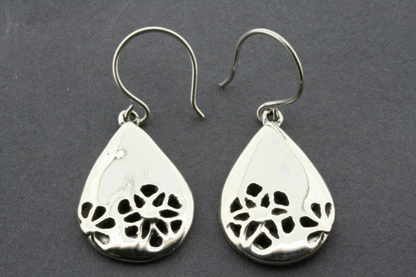 teardrop with cutout flower earring