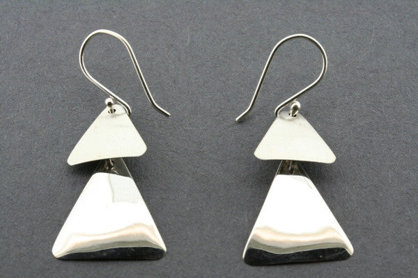 2 triangle texture disc earring