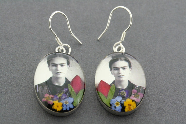 frida flower earring - black & white - sterling silver