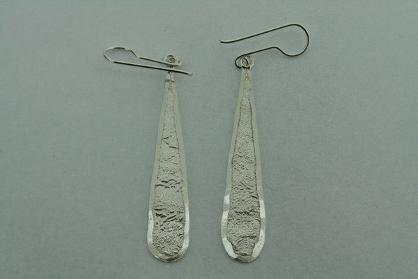long textured teardrop earring