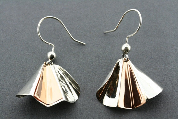 pleated earring - silver/copper