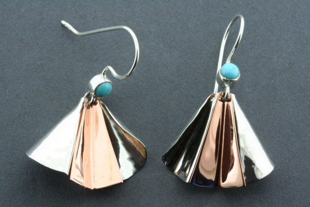pleated earring - silver/copper & Turquoise