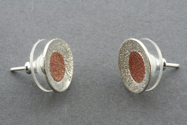textured silver & copper cup stud