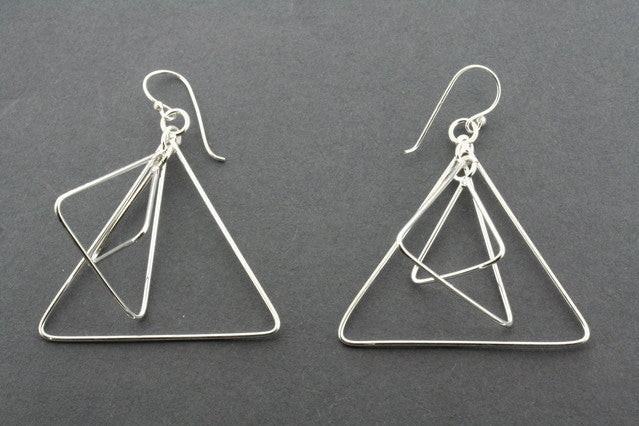 3 x triangle earring