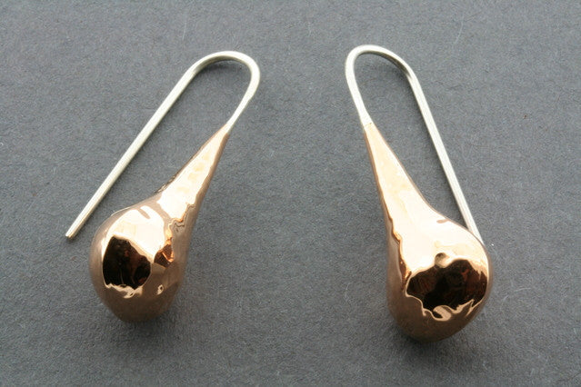 battered copper teardrop earri