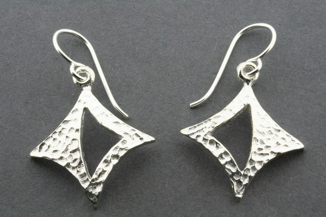 textured diamond with triangle earring