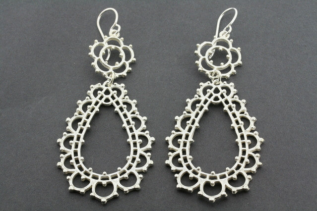 ornate chandelier earring - sterling silver