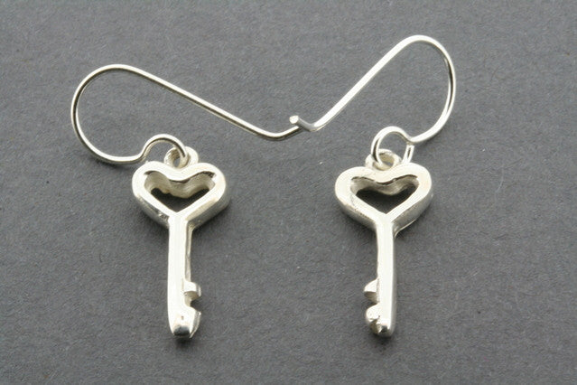 key to heart earring