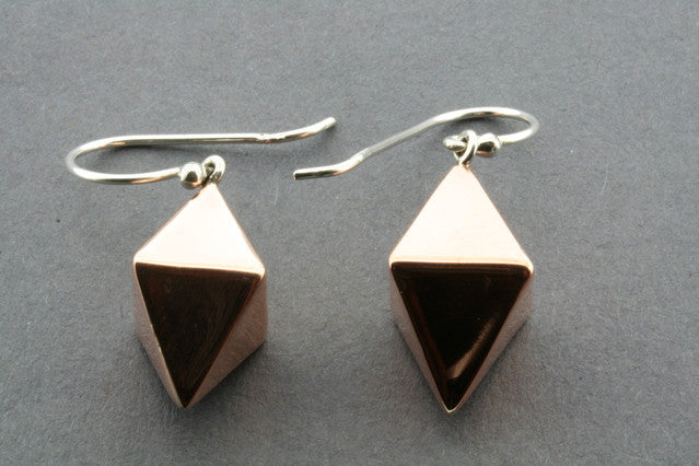 double pyramid copper earring
