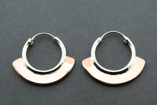 small copper & silver hoop