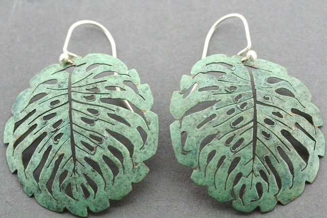 copper patina fan earring