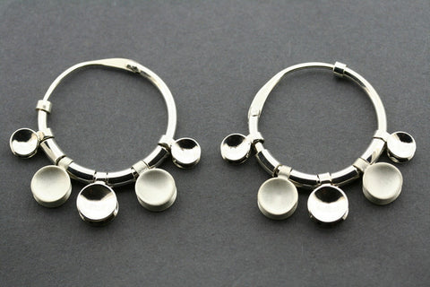5 disc hoop earring - sterling silver