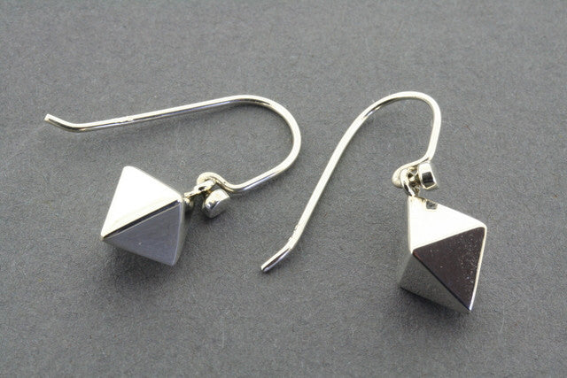 double silver pyramid earring