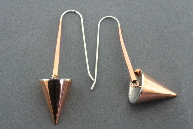 copper & silver cone earrings