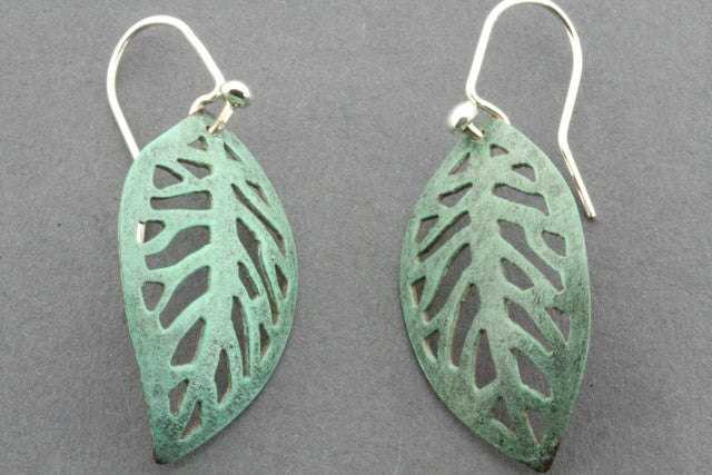 copper patina leaf earring