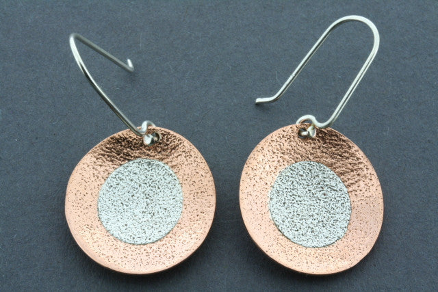 copper & silver textured disc earring