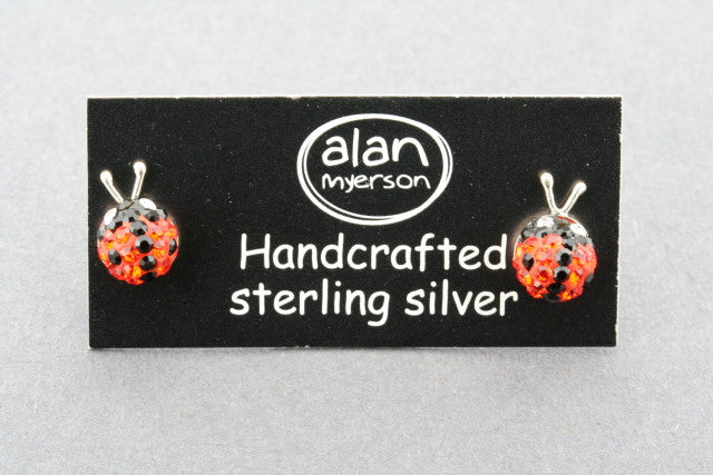 crystal ladybird stud - orange