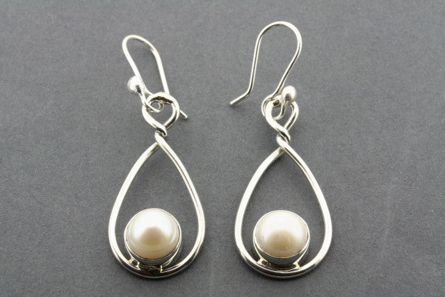 pearl oval twisted drop earring - sterling silver