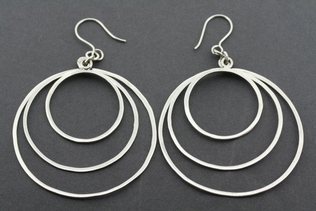 3 x large circle earring - sterling silver