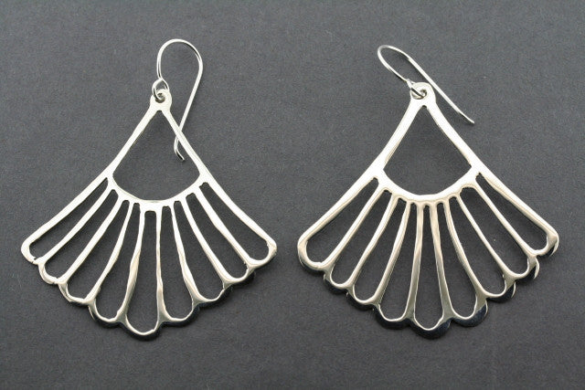 large fan earring - sterling silver